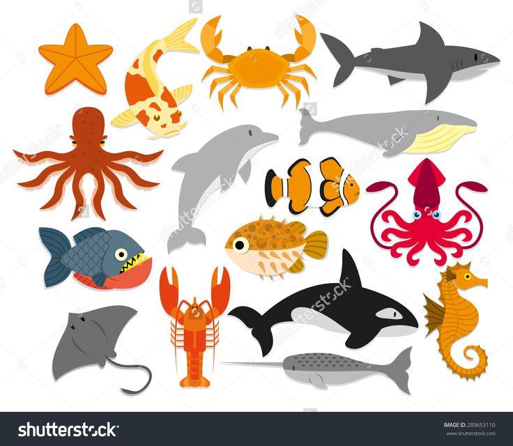 Vector Set Of Cartoon Sea Animals Isolated - 289653110 : Shutterstock