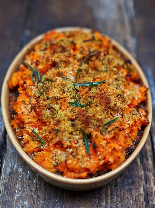Vegan Shepherds Pie by Jamie Oliver - Lentils and chickpeas with a super-crisp root-veg mash and breadcrumb topping.