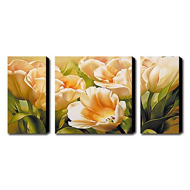 Hand-painted Floral Oil Painting with Stretched Frame - Set of 3 – USD $ 199.99