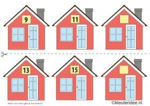 CITOvaardigheden voor kleuters, Welk nummer heeft het huisje in de straat oneven nrs 2, kleuteridee.nl , What number is the house in the str...