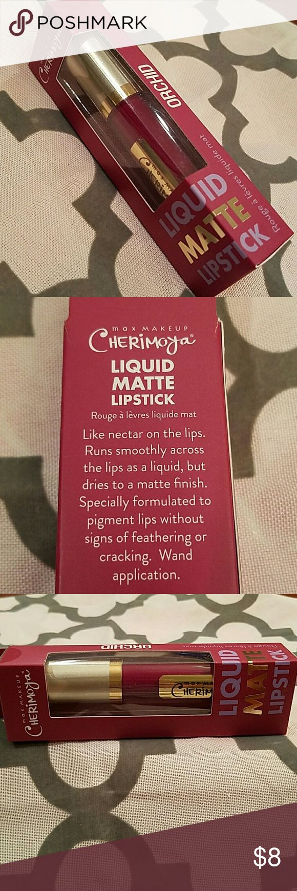 """Kiss proof Long-wear Liquid Matte Lipstick Liquid Matte Lipstick. Goes on as a liquid and dries to a rich long-lasting kiss-proof matte finish. This color is in """"Orchid"""" red and lasts hour after hour! THIS STUFF REALLY LASTS! New never used, still in its original sealed packaging. This is the last one I have in this shade. Bundle and save. Max Makeup Makeup"""