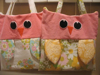 Owl Bags from sheets #yard sale #garage sale #tag sale #recycle #upcycle #repurpose #redo #remake #thrift #www.theyardsalelady.com