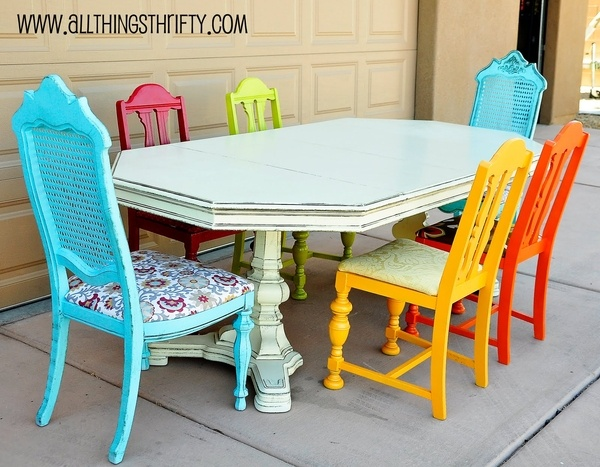 Colorful kitchen chairs  #home-stuff: Dining Rooms, Decor, Ideas, Mismatched Chairs, Colors, Diningroom, Kitchen Table, House, Furniture