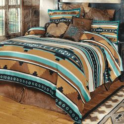 Desert Springs Turquoise Southwestern Bedding Collection - this one is blanket and shams; we could use a simple inexpensive duvet cover underneath.