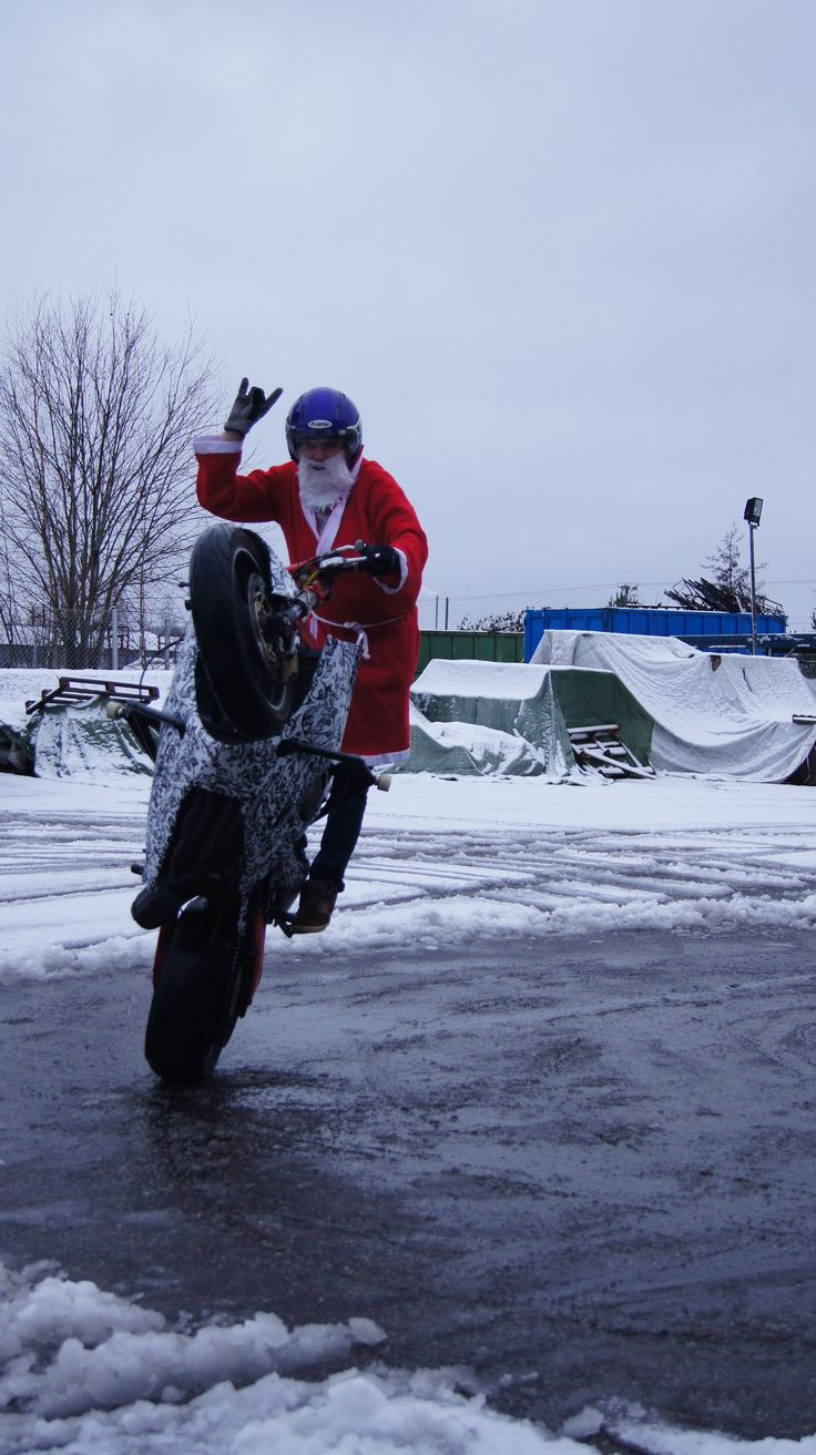 Santa claus with stuntbike!
