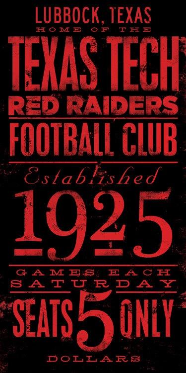 Texas Tech football typography graphic art on by geministudio, $125.00