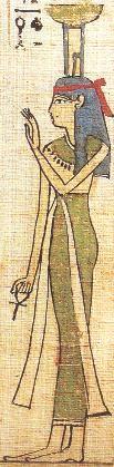Nephthys : la gardienne des morts Soeur d'Isis et épouse de Seth, elle a aidé à la résurrection d'Osiris. Avec Isis, elle aide les morts à renaître. Nephtys est représentée sous la forme d'une femme, portant sur la tête les signes hiéroglyphes de l'enceinte de la ville.
