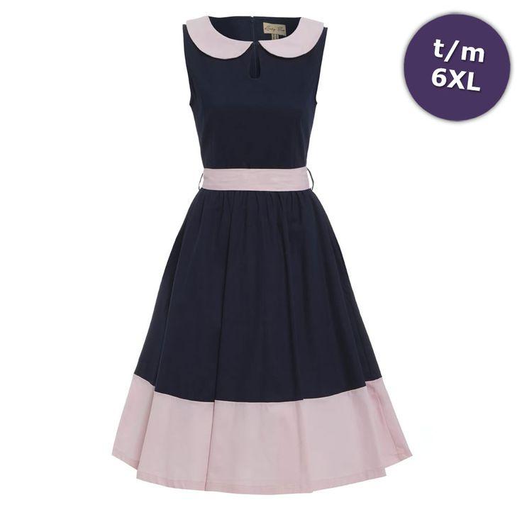 Lindy Bop Swing Beattie jurk met Peter Pan kraag marine blauw/roze - V