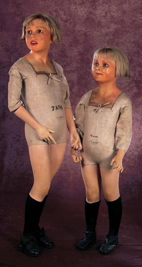 """Child mannequins. The bodies are stamped """"4 ans"""" and """"P. Imans Paris"""". French,circa 1890."""
