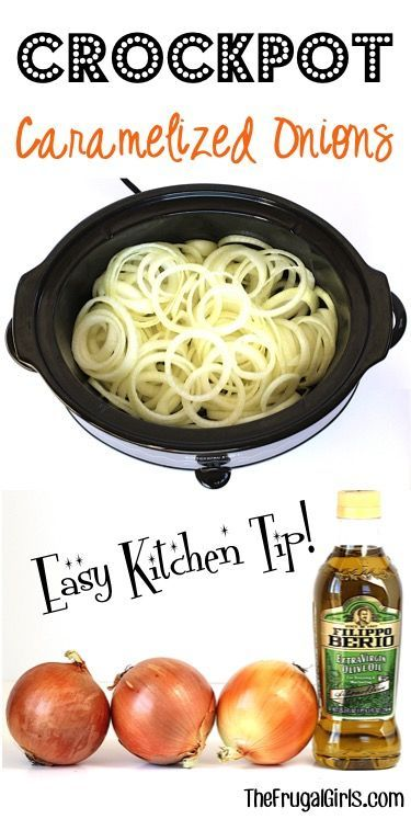 Crockpot Caramelized Onions Recipe! ~ from TheFrugalGirls.com ~ this is the easiest trick ever to make the most delicious onions for dinner! Just dump them in the slow cooker and walk away!