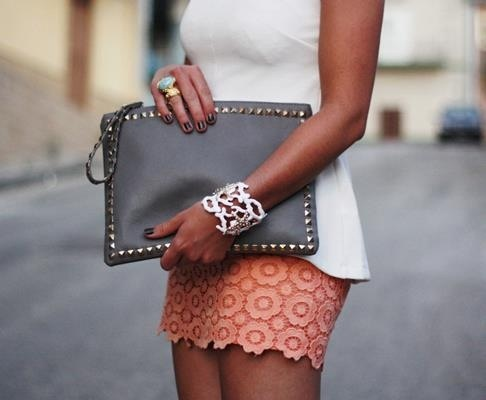New Style!: Fashion Style, Grey And Coral, Awesome Outfits, White Gold, Accessories, Cute Skirts, Bags, Envelopes Clutches, While