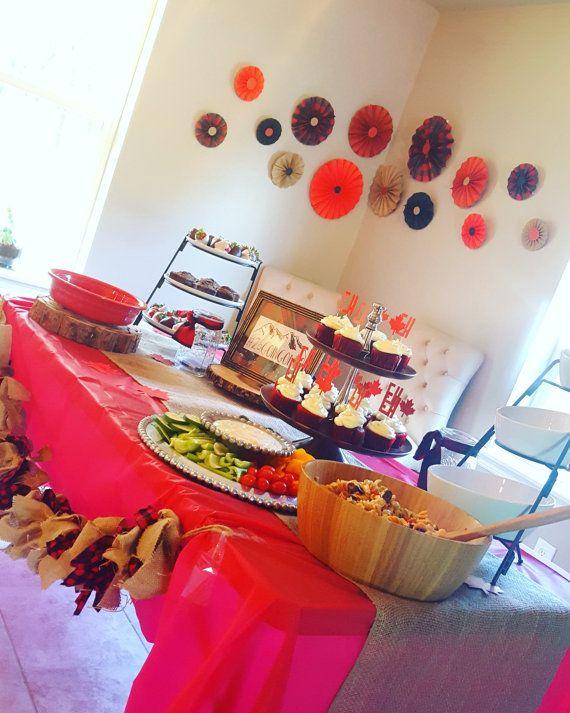 Rosetas de Pinwheel fiesta cuadros bosque leñador por eventprint