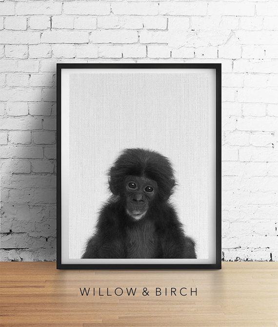 Baby Chimp Printable Art Ape MONKEY Print by WillowandBirchPrints