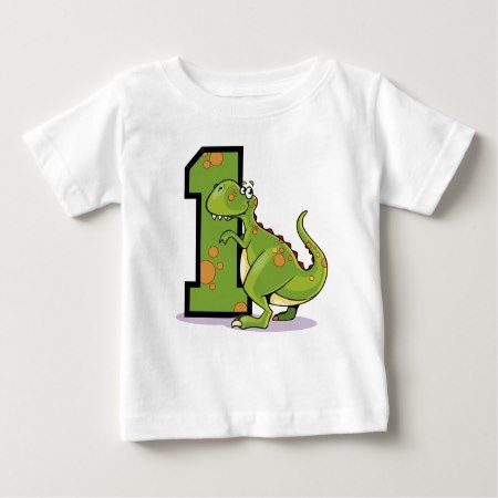 1st Birthday Dinosaur Baby T-Shirt - tap, personalize, buy right now!