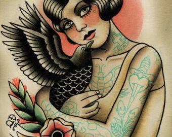 Aleta y Raven impresión del arte del tatuaje por ParlorTattooPrints