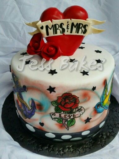 Pin up style tattoo cake MRS & MRS by Jess Bakes www.jessbakes.net