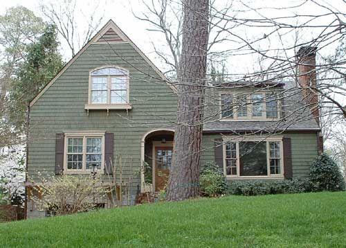 Green house brown shutters exteriors pinterest for White house green trim