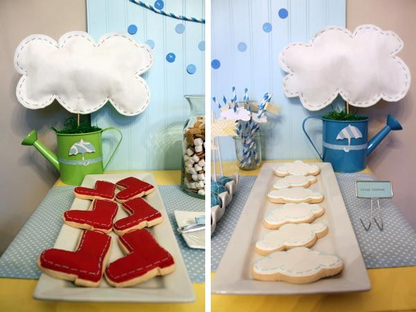 """This site has some really cute ideas for the """"April showers bring May flowers"""" baby shower theme."""