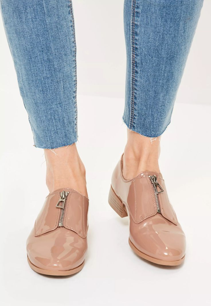 Brogues are making a come back this season and these nude patent, zip front beauts are the perfect pair to help you nail the trend!