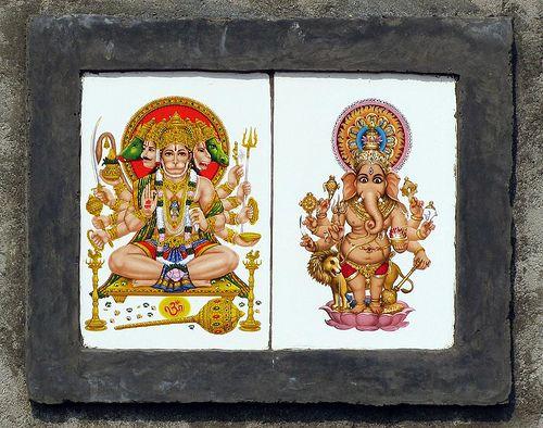 Panchamuka Hanuman and Drishti Ganesha