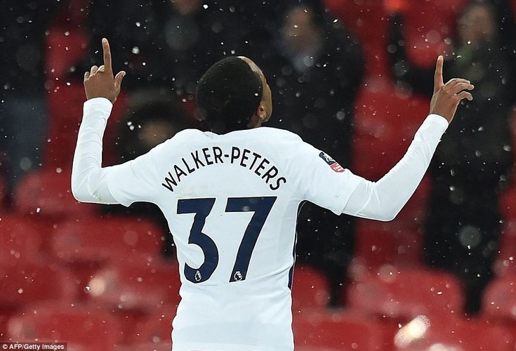 The Tottenham youngster celebrates his goal as the few remaining supporters inside Wembley rise to applaud their star