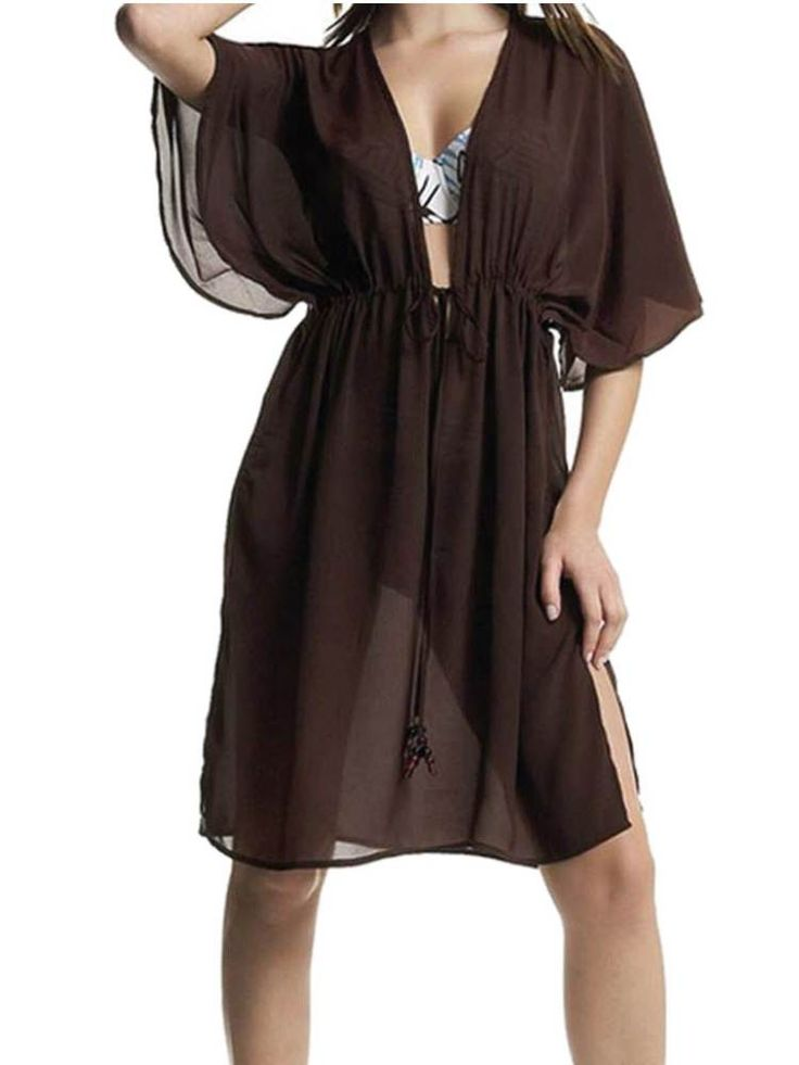 New Brown Beach Dress 10 - 12 Sheer Wrap Coverup Kaftan Sexy open front Fantasie
