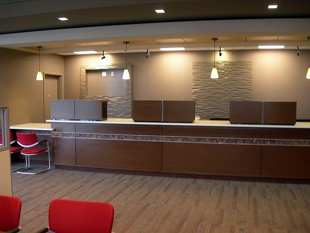 Remodel Ideas, Office Ideas, Bank Days, Jeff Office Remodel, Bank Interiors, Pharmacy Remodel, Lobby Facelift. bank teller line