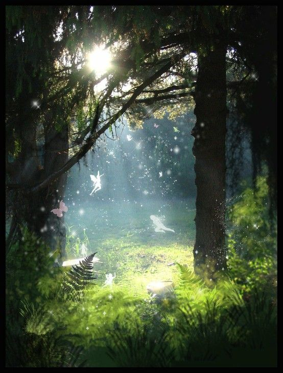 magical places, love the feeling of mysticism, the lighting and the addition of fairies.
