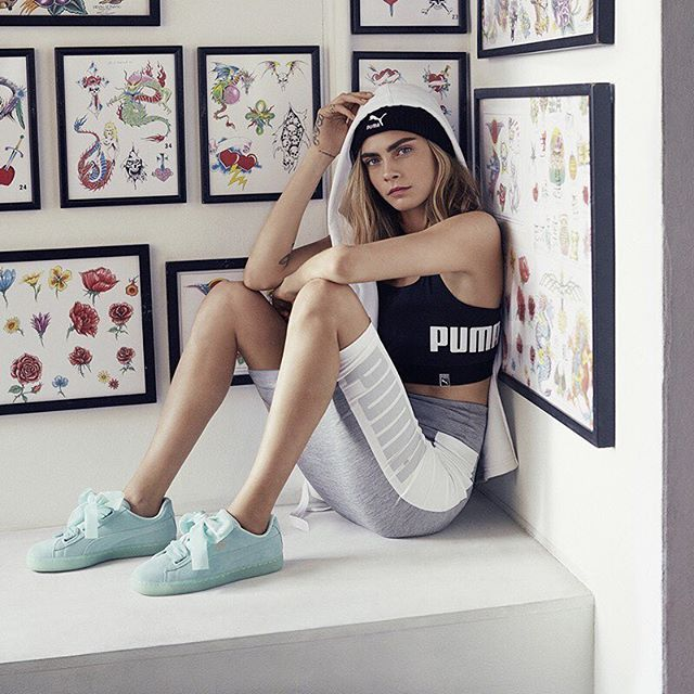 """We all wear our different kind of armors and our different kind of things as we go through different situations in life..."" @caradelevingne sharing her story with @puma #DoYou  Shop Cara's Basket Heart Pumps at USC now!!  .  Product code 