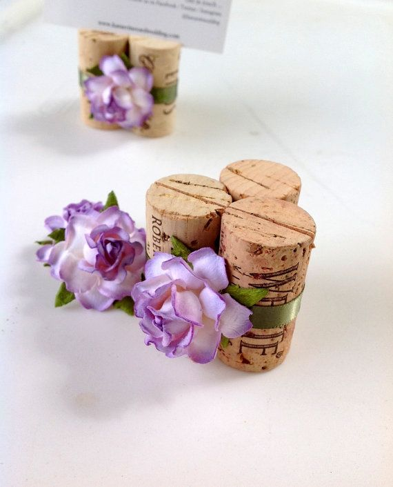 Wedding Place Card Holders inspired by a rustic winery wedding, & custom made to match purple hydrangea & grape centerpieces.  Discover your custom set of purple wedding Place Card Holders today at www.karasvineyardweddingshop.com
