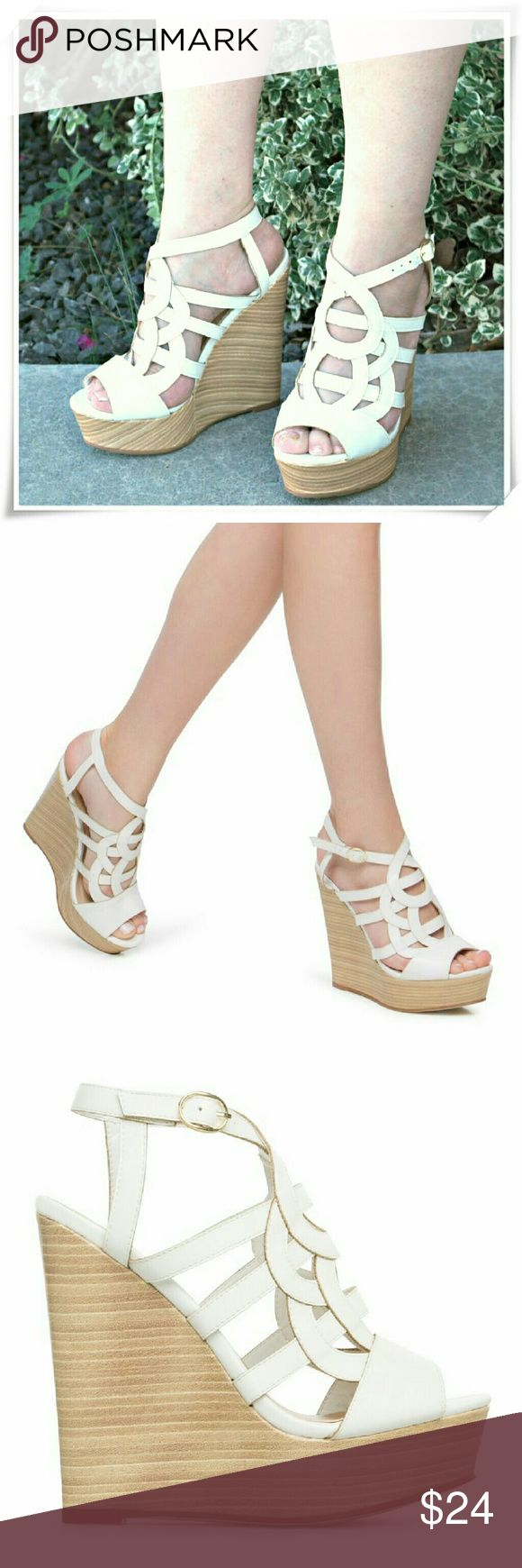 """Paisley wedge sandals heels. This wedge features summer strappy style, stacked wood platform, and chic cutouts. Comfortable light shoe.  Details: heel 5-1/2"""", platform 1-1/2"""", runs 1/4 size small, if you in between sizes, go 1/2 size up.  Please use only ✔OFFER  button for all price negotiations. I'll do a price drop⤵ for you for discounted shipping, if we agree about the price. Shoe Dazzle Shoes Sandals"""