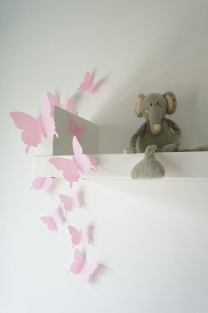 3D muursticker Vlinders Babyroze