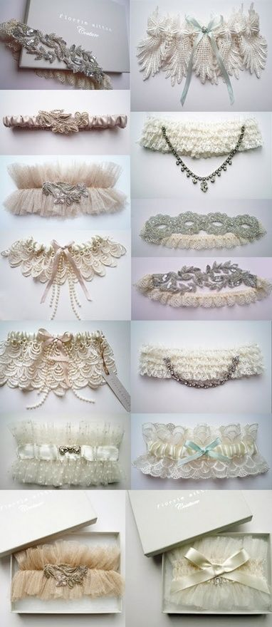 """garters-- gorgeous!  like a """"tiara"""" for your leg!  still have a bronco one to throw off for the eligible bachelors!"""