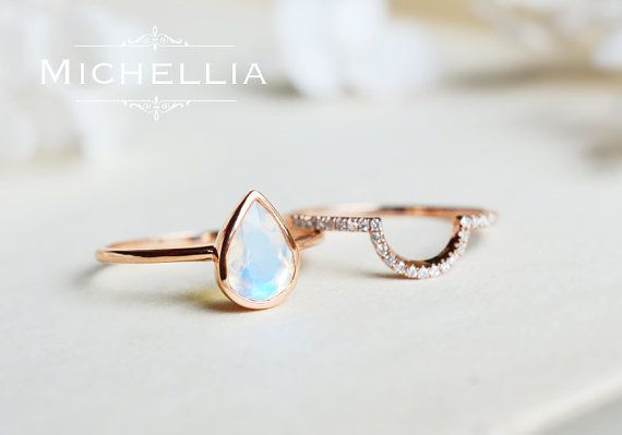 Moonstone Pear Engagement Ring Bridal Set 14K by MichelliaDesigns