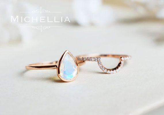 Moonstone Pear Engagement Ring Bridal Set, 14K 18K Gold Moonstone Ring and…