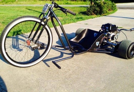 The Big Wheel Drift trike runs on a 6.5 hp (4.8 kW) motor