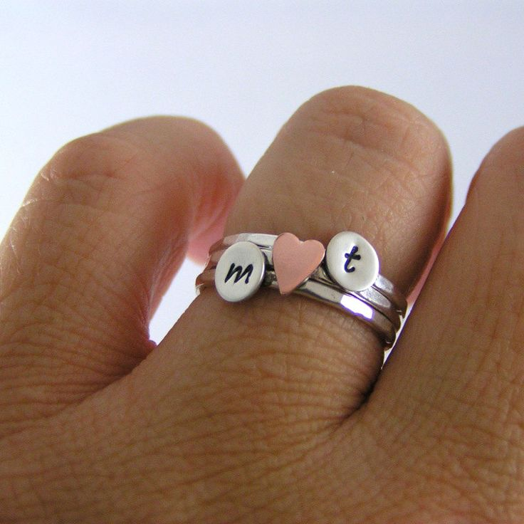 Custom Initial Sweetheart Stack Rings, Sterling Silver Rings, Personalized Rings, Set Of Three. $45.00, via Etsy.