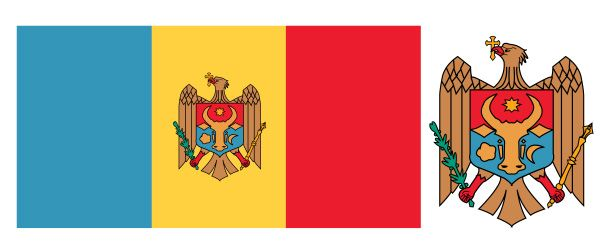 Vertically striped blue-yellow-red national flag with a central coat of arms featuring an eagle. The flag has a width-to-length ratio of 1 to 2. Moldova declared independence during...
