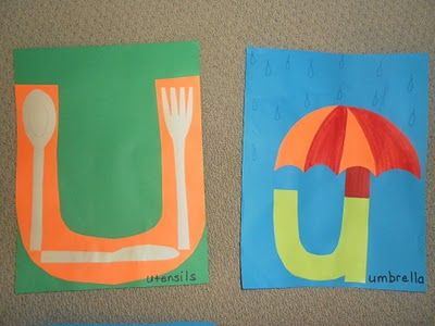 Letter U for utensils and umbrella