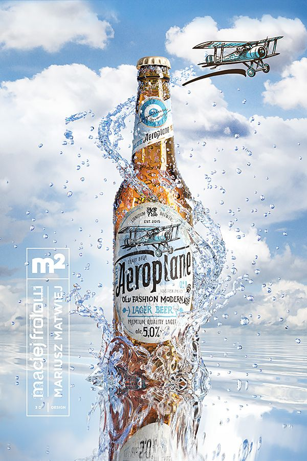 To show our skills we made a beer advertising of a not existing product called Blue Aeroplane. The label design is made by Mariusz Matwiej. The whole integration, 3D modeling, texturing and rendering is made by Maciej Frolow.