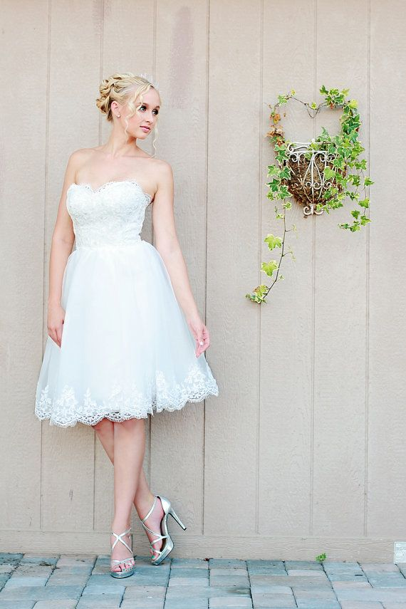 Reception Dress, short wedding dress, tulle wedding dress, strapless wedding dress, party dress, little white dress
