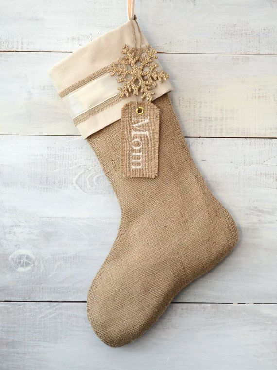 Burlap Christmas Stocking - Ivory Satin Stripe - Choose your embellishment - Monogram on Etsy, $36.00