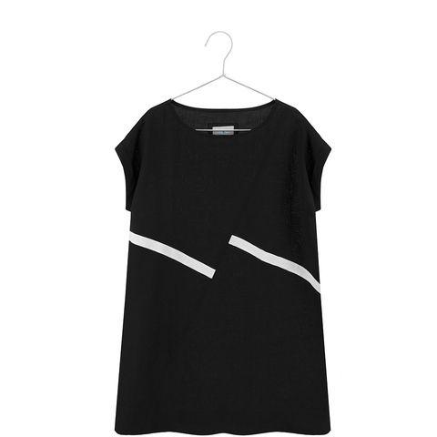 Linen maxi dress with oblique stripes