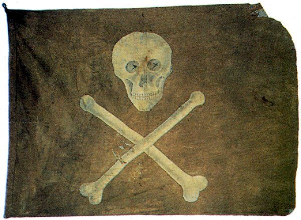Actual recovered pirate jolly roger (skull and crossbones) flag. This flag was lifted to intimidate their enemies.