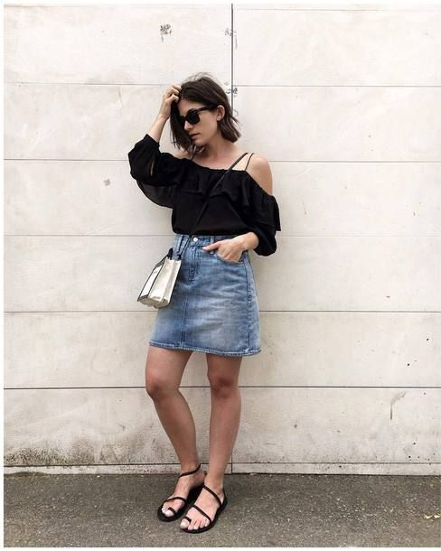 $49 & Other Stories Gorgeous Black Frilled Ruffle Blouse Teamed With $56 Levi's The Every Day Light Wash Denim Skirt And Ancient Greek Sandals Eleftheria Leather Sandals Plus Balenciaga Mini Tote Bag