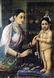 Yashoda, a mãe adotiva de Krishna, adornando-o, em pintura de Raja Ravi Varma (1848-1906)