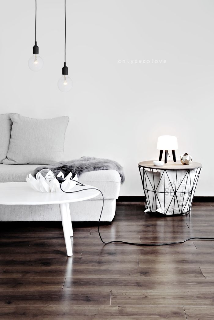 via Only Deco Love l relaxed minimalist living room l light bulbs from black cord. Wire Basket - www.fermliving.com