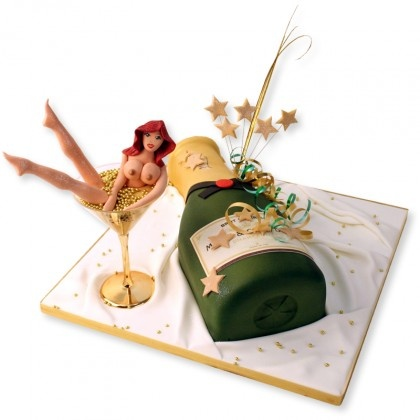 Pop Your Cork Cake, freshly made and delivered by Londons finest Naughty Cake Maker