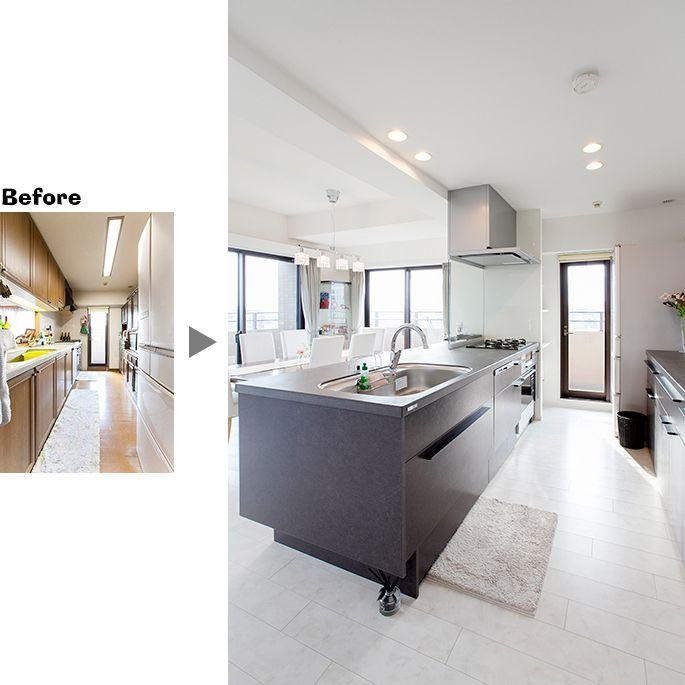 シンプルモダンなlixilのリシェル採用 M059 ホワイト系モノトーン 施工事例 住宅 リフォームのアートリフォーム Lixil シンプルモダン キッチン リフォーム セラミック リフォーム 住宅リフォーム キッチンデザイン