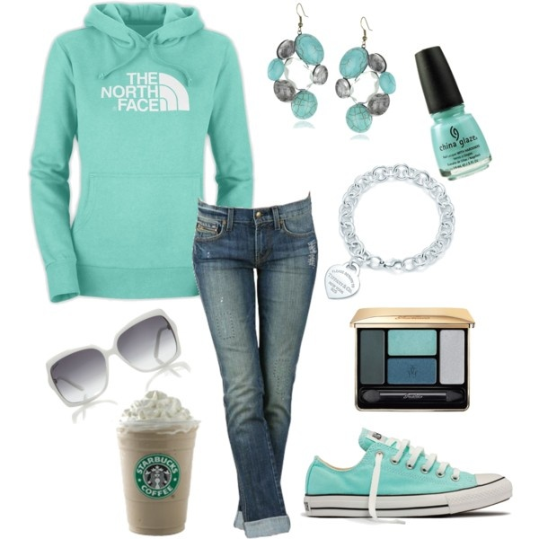 Untitled #82 - Polyvore: Shoes, Northfac, Mint Green, Color, Tiffany Blue, Outfit, Styles, The North Faces, Starbucks